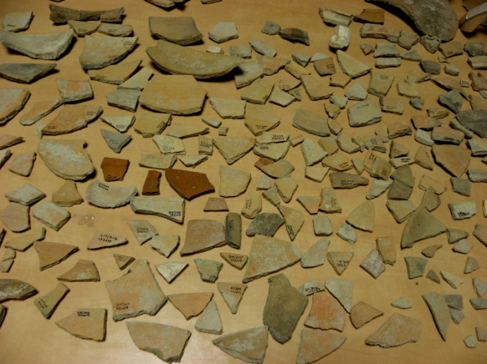 Sherds Laid Out for Restoration