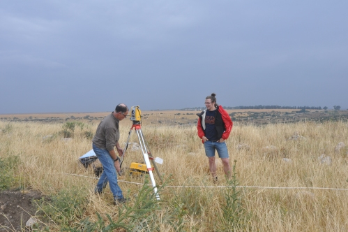 J and Seth setting up the Total Station – Yes, it was cold despite the shorts