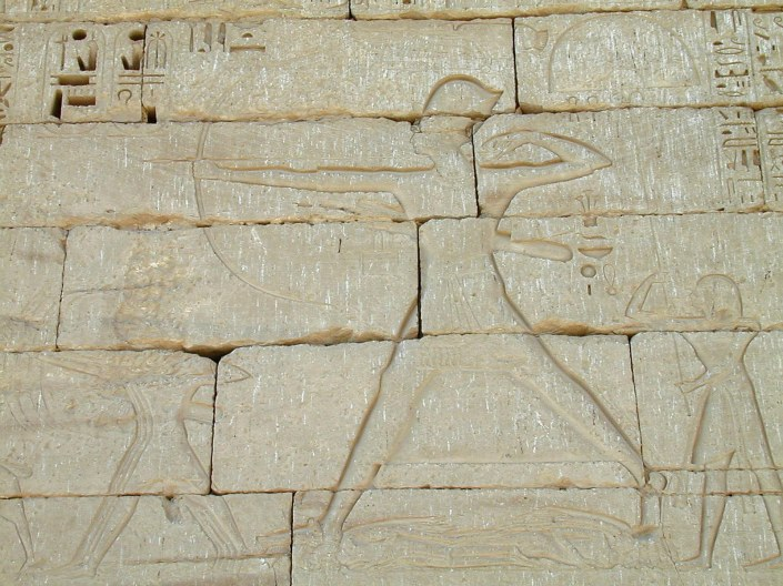 Medinet Habu - Ramses III attacking Sea Peoples - Notice the Elongated Arrow - Copyright BiblePlaces, Todd Bolen