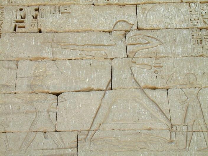 Medinet Habu - Ramses III attacking Sea Peoples - Notice the Elongated Arrow - Copyright BiblePlaces, Todd Bolen