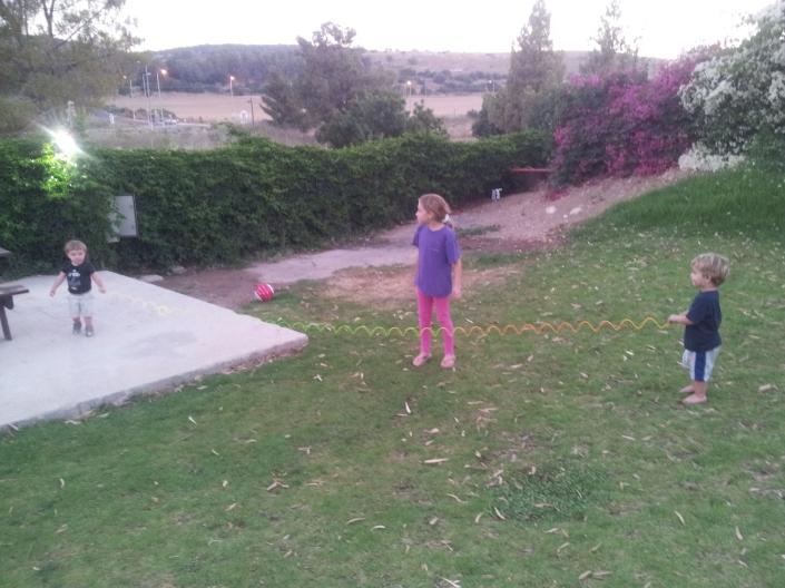 Shai and McKinny kids having some fun at the kibbutz
