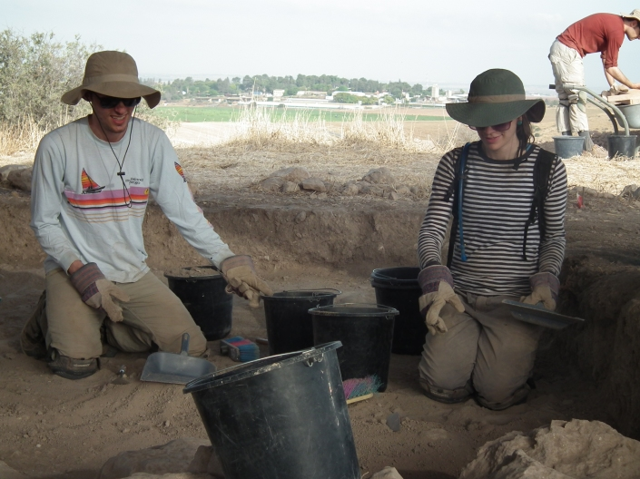 Jeremy and Amy digging up several complete LB IIB storejars in B