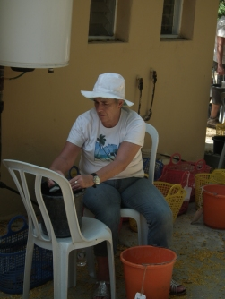 Kay washing some pottery at the kibbutz