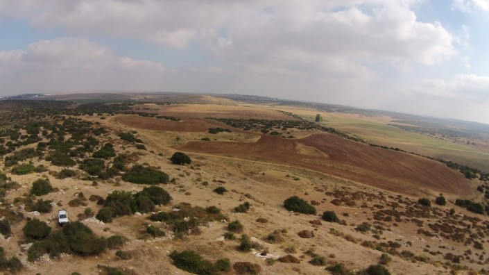 Tel Burna from above Khirbet 'Atr (Ether) - view from south.